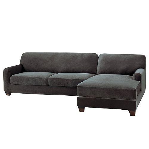 Stretch Pique - 2Cushions Sectional Sofa Left - Black