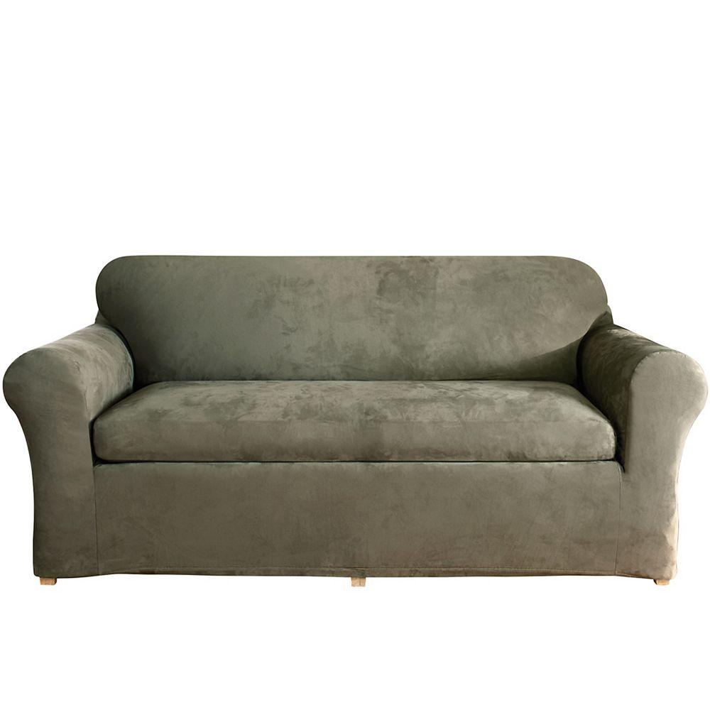 Sure Fit Stretch Suede -3pc Bench Cushion Sofa - Dark Green