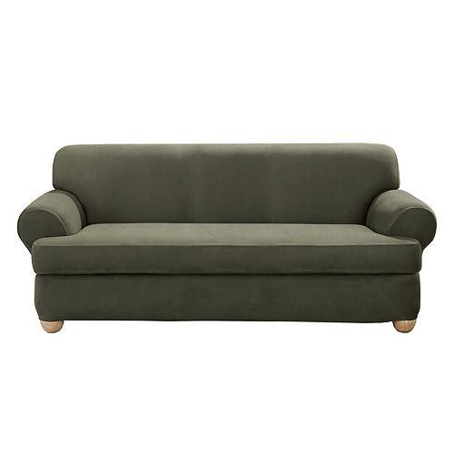 Stretch Suede -2pc Bench T Cushion Sofa - Dark Green