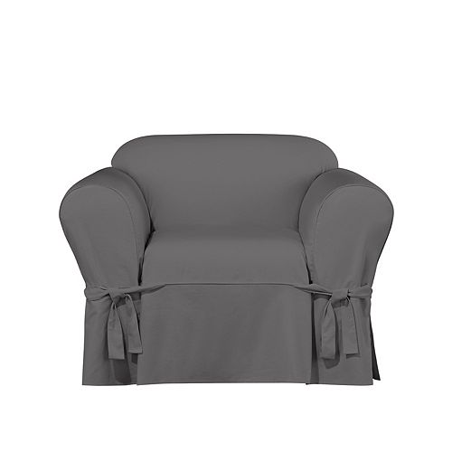 Essential Twill -1pc 4Cs Kickpleat Chair - Smoke Gray