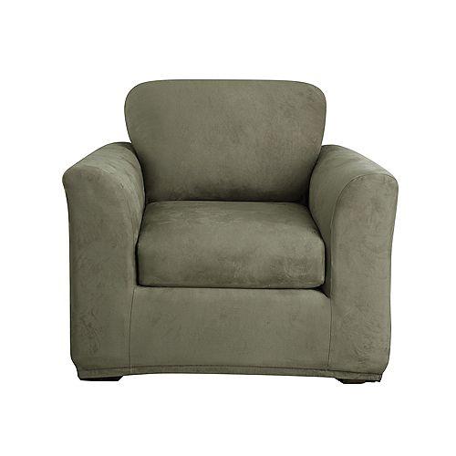 Stretch Suede -2pc Bench Cushion Chair - Dark Green