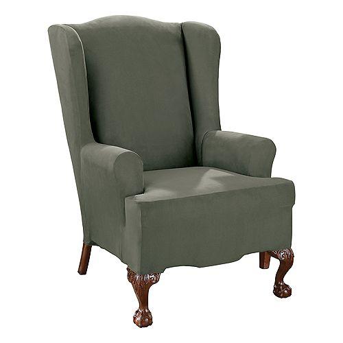 Stretch Suede -1pc Wing Chair - Dark Green