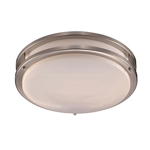 Bel Air Lighting Barnes 14 in. 24-Watt Brushed Nickel Integrated Flush Mount with White Acrylic Shade