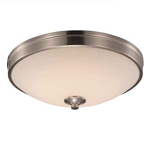 Bel Air Lighting 11 in. 15-Watt Equivalent Brushed Nickel Integrated LED Flush Mount
