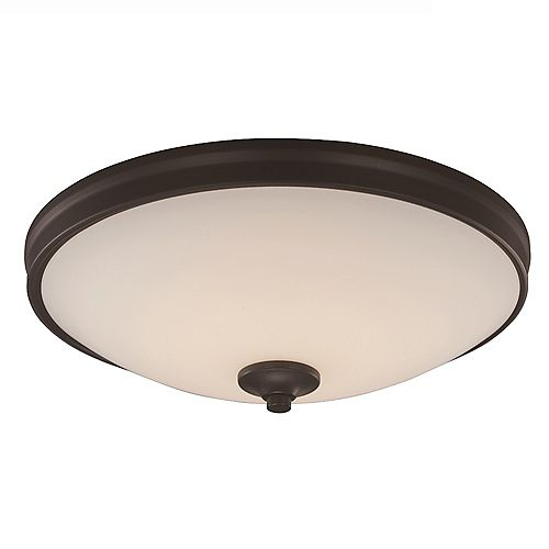 Bel Air Lighting 15 in. 24-Watt Equivalent Rubbed Oil Bronze Integrated LED Flush Mount
