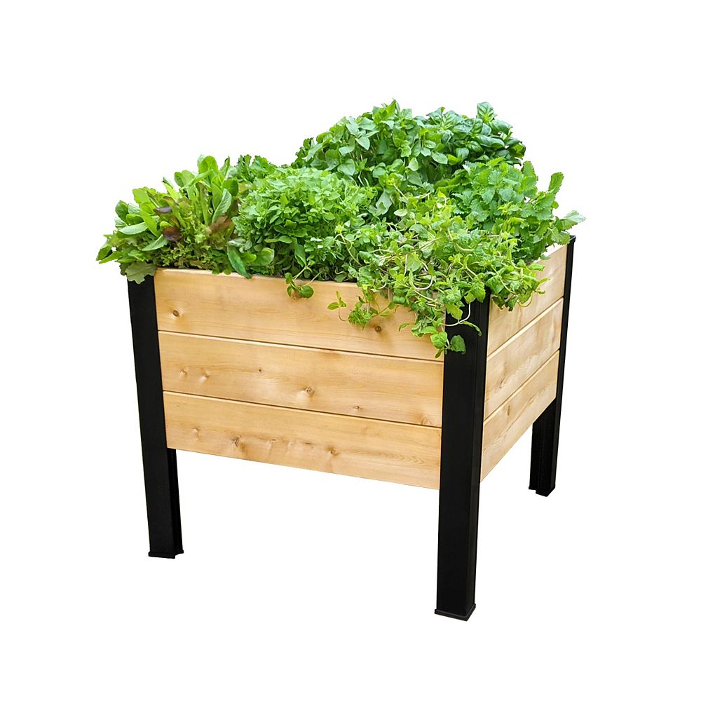 "Korto 23"" Aluminum Corners with Cedar for Square Elevated Planter Box Kit, 26 1/2"" x 26 1/2"""