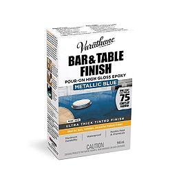 Barre et Finition de Table Épais Dans du Vernis Ultra Lustré Bleu Méttalique, 946mL