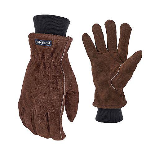 Gants d'hiver en cuir suédé extra larges avec doublure polaire isolée