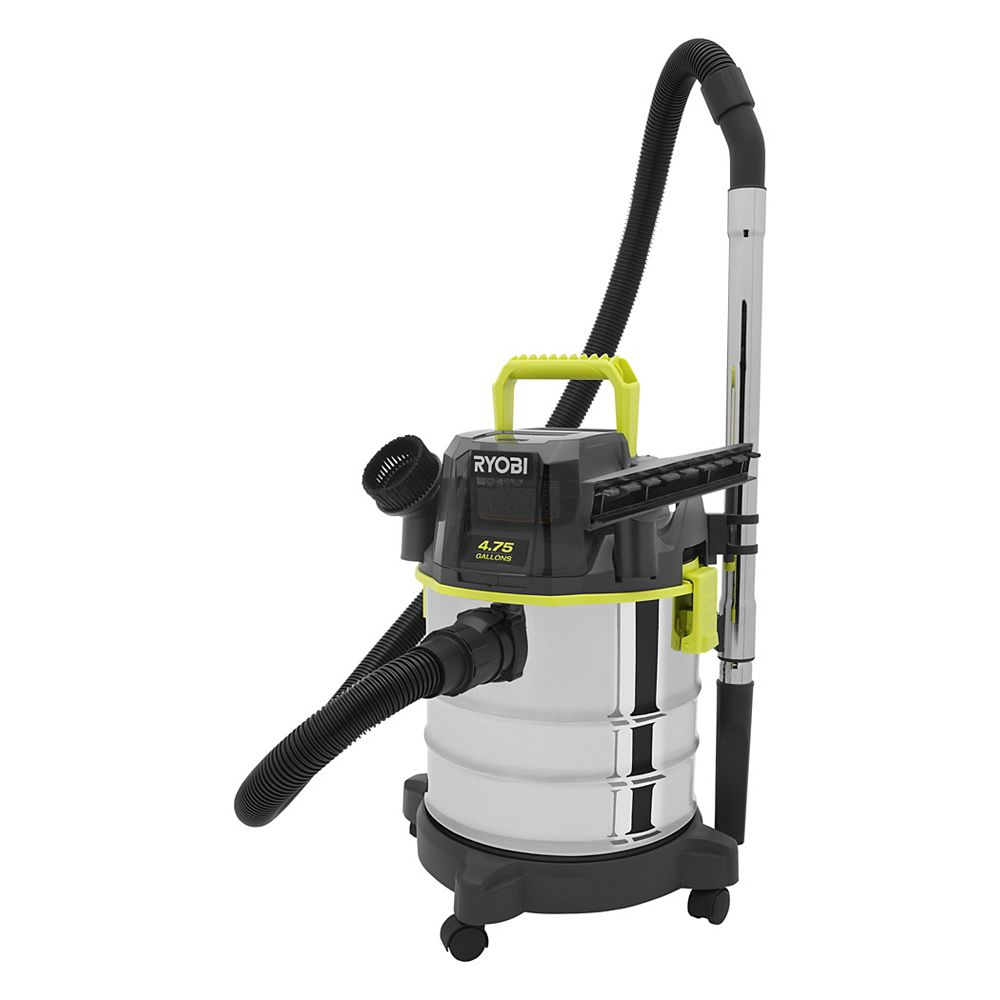 RYOBI 18V ONE+  4.75 Gal Wet/Dry Vacuum (BT) with Hose, Crevice, Nozzle, and Extension pole