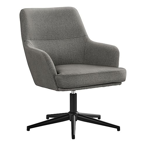 """Accent Chair - Swivel / 5 Star Base / Upholstered Contemporary Armchair - 33""""H - Grey / Black Metal"""