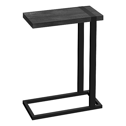 """Side Table / C Table - Thick-Panel Rectangular Top - 25""""H - Black Reclaimed Wood-Look / Black Metal"""