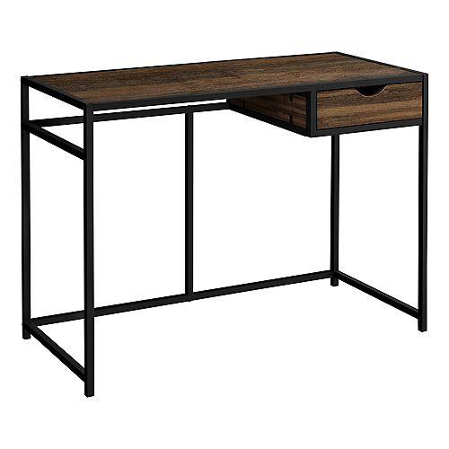 """Computer Desk - 1 Storage Drawer / Metal Frame - 42""""L - Brown Reclaimed Wood-Look / Black"""