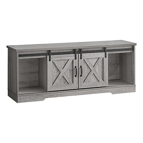 """Tv Stand - 2 Barn-Style Sliding Doors / 2 Shelves / 2 Cabinets - 60""""L - Grey Wood-Look"""