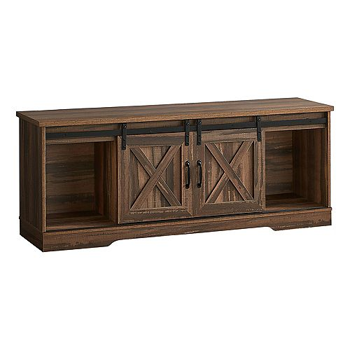 """Monarch Specialties Tv Stand - 2 Barn-Style Sliding Doors / 2 Shelves / 2 Cabinets - 60""""L - Brown Reclaimed Wood-Look"""