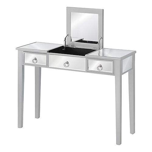 """Vanity Table - Mirrored / 2 Drawers / 1 Storage Compartment / Flip Top - 42""""L - Mirror / Silver"""