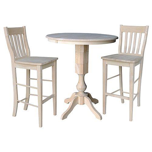 Ensemble non fini de 3 pièces - Table de salle à manger ronde de 36 po avec 2 tabourets de café