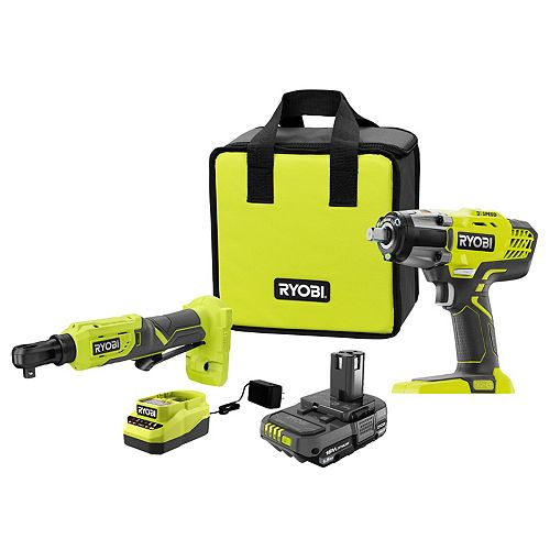 18V ONE+ 1/2-inch Impact Wrench & 3/8-inch Impact Ratchet Kit with 1.5 Ah Battery and Charger