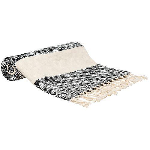 100% Cotton Turkish Bath Towel, 40 inch x 70 inch Diamond Peshtemal in Black