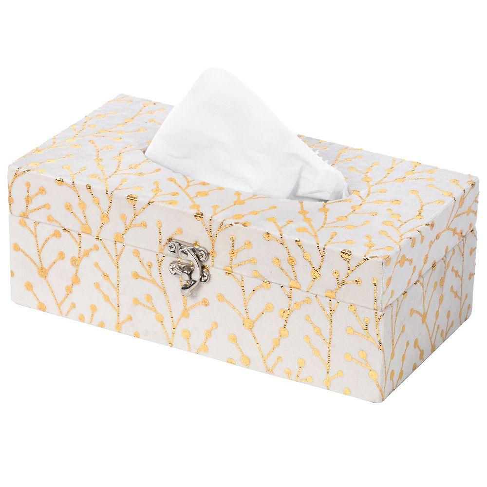 Vintiquewise Papier moderne velours rectangulaire Mouchoirs Holder Box, Blanc