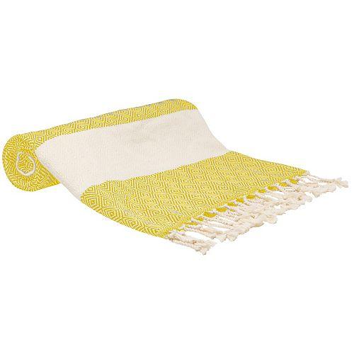 "100% Cotton Turkish Hand Towels, Set of 2 18"" x 40"" Diamond Peshtemal Kitchen and Bath Towels, Beige"