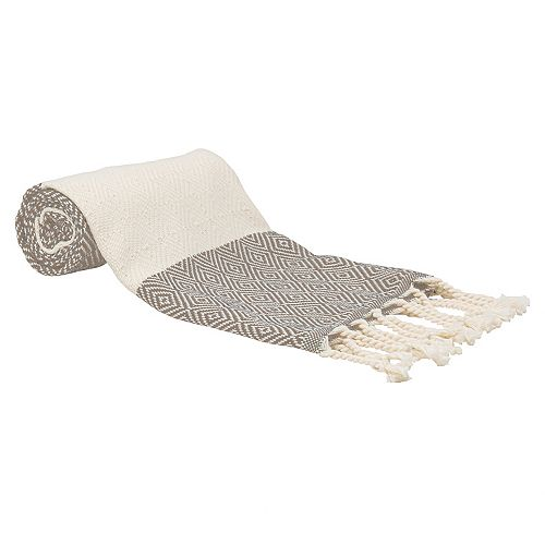 "100% Cotton Turkish Hand Towels, Set of 2 18"" x 40"" Diamond Peshtemal Kitchen and Bath Towels, Black"