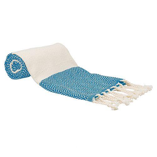 "100% Cotton Turkish Hand Towels, Set of 2 18"" x 40"" Diamond Peshtemal Kitchen and Bath Towels, Gray"