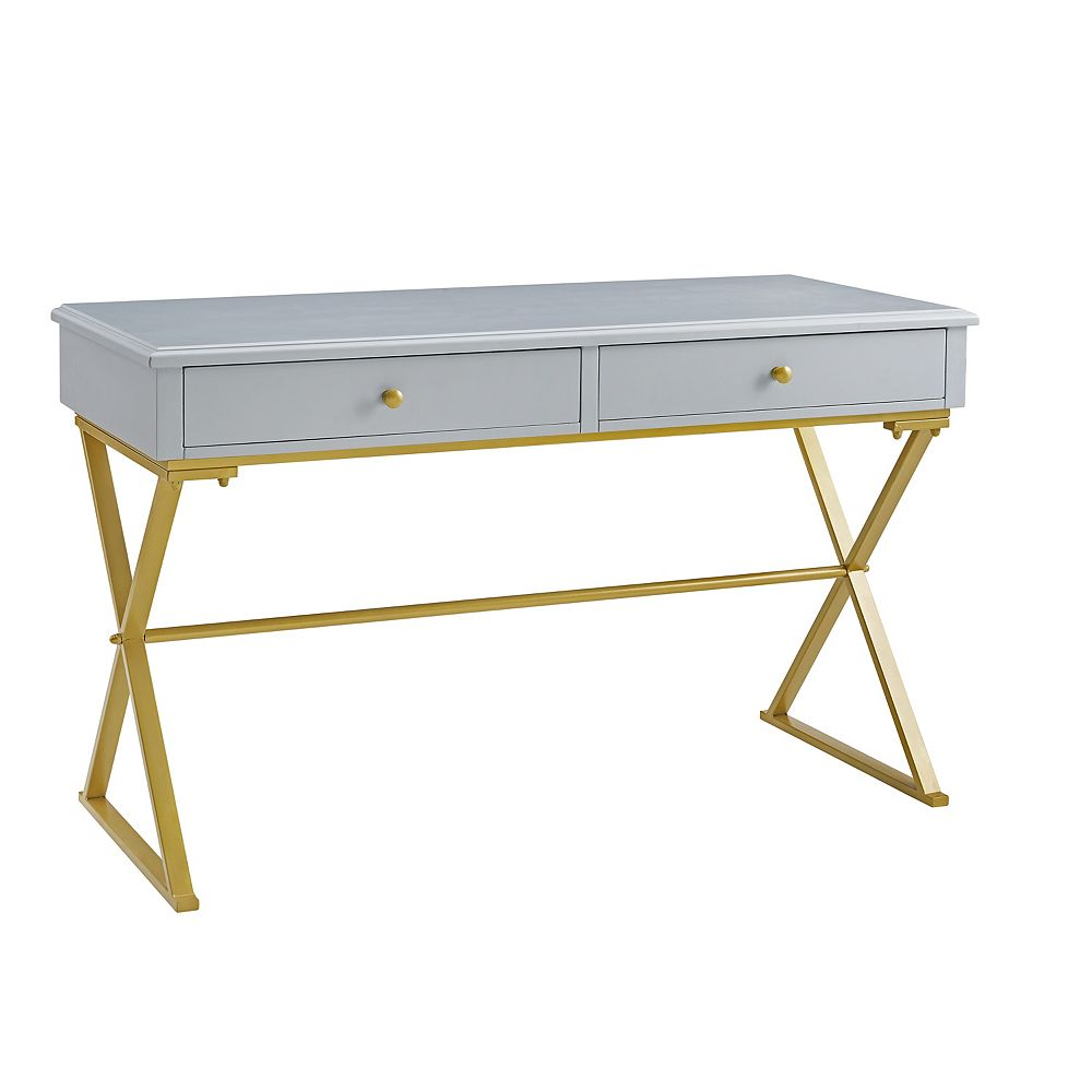 Linon Home Décor Products Campaign 2 Drawer Desk, Grey