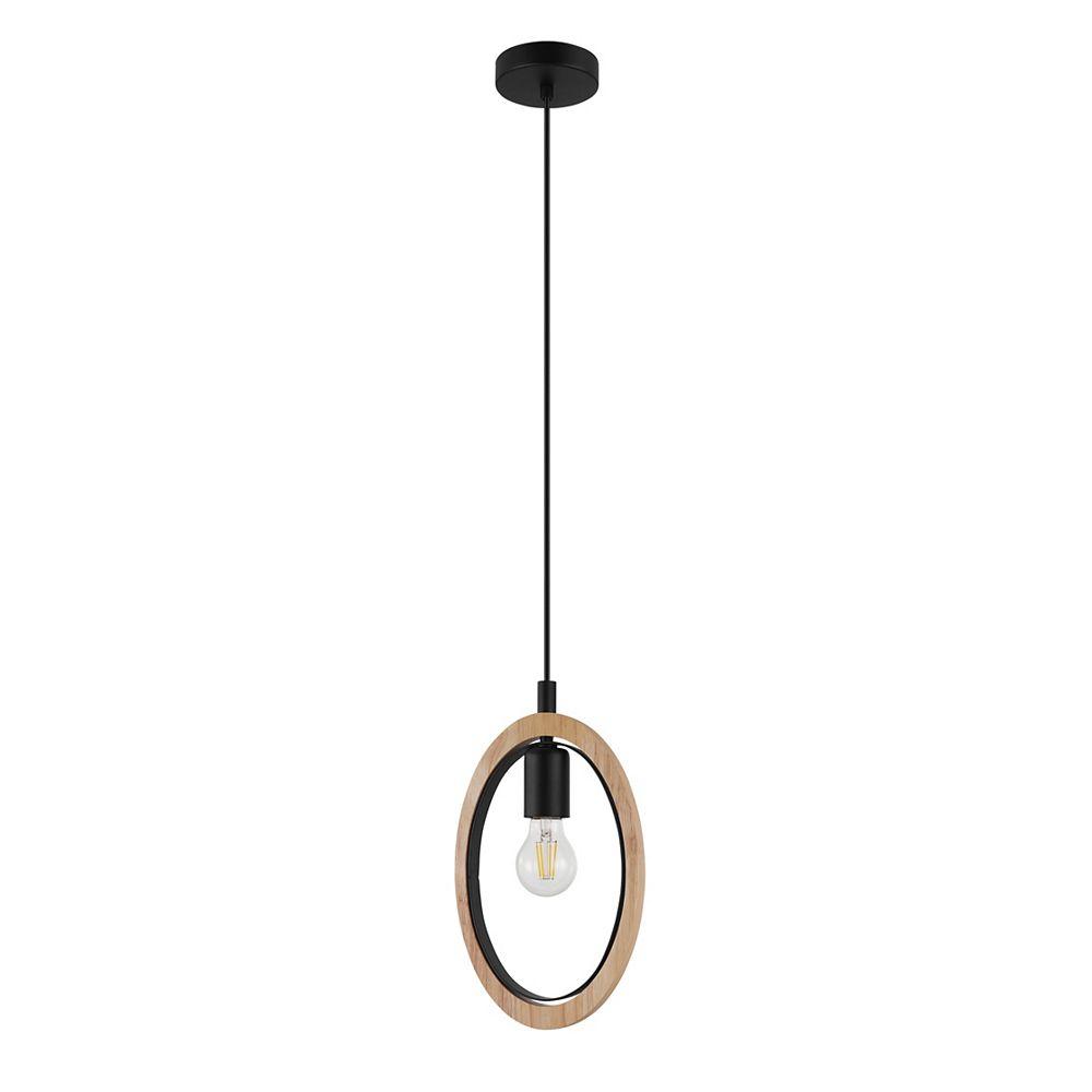 Eglo Basildon Pendant Light, Black Finish with Wood Accent Shade