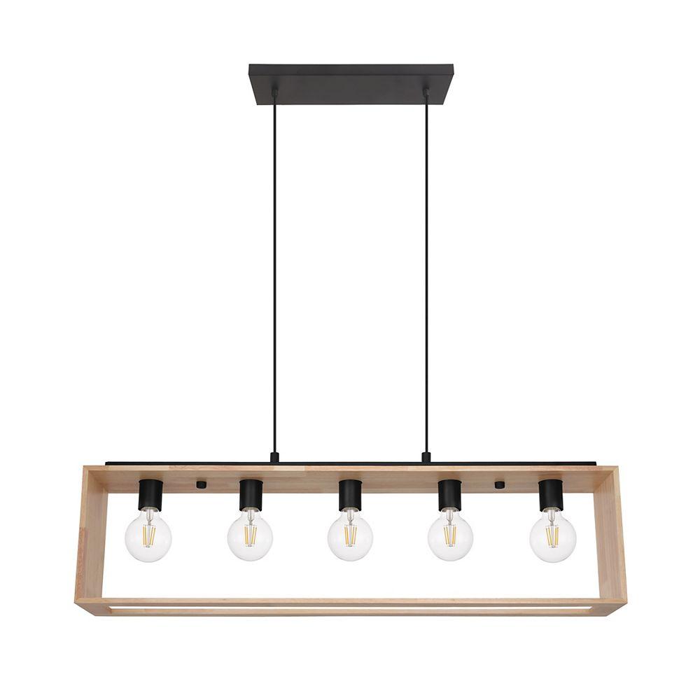 Eglo Famborough Pendant Light 5L, Black Finish with Natural Wood