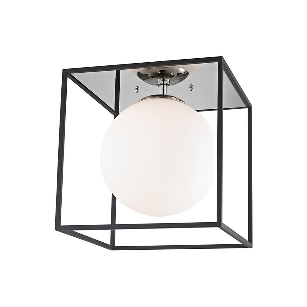 Mitzi by Hudson Valley Lighting Aira 1-Light Polished Nickel and Black Large Flush Mount with Opal Etched Glass and Black Accents