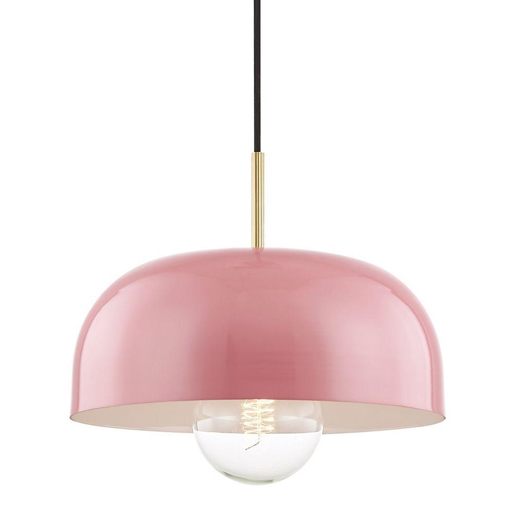 Mitzi by Hudson Valley Lighting Avery, Luminaire suspendu à 1 feu 35.6 cm (14 in.) en laiton vieilli avec abat-jour rose en métal