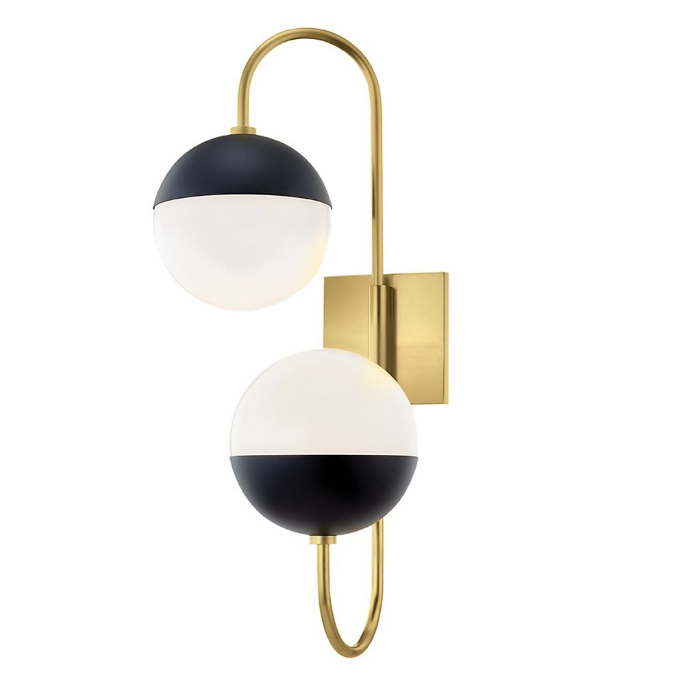 Mitzi by Hudson Valley Lighting Renee 2-Light Aged Brass/Black Wall Sconce with Opal Glossy Shade