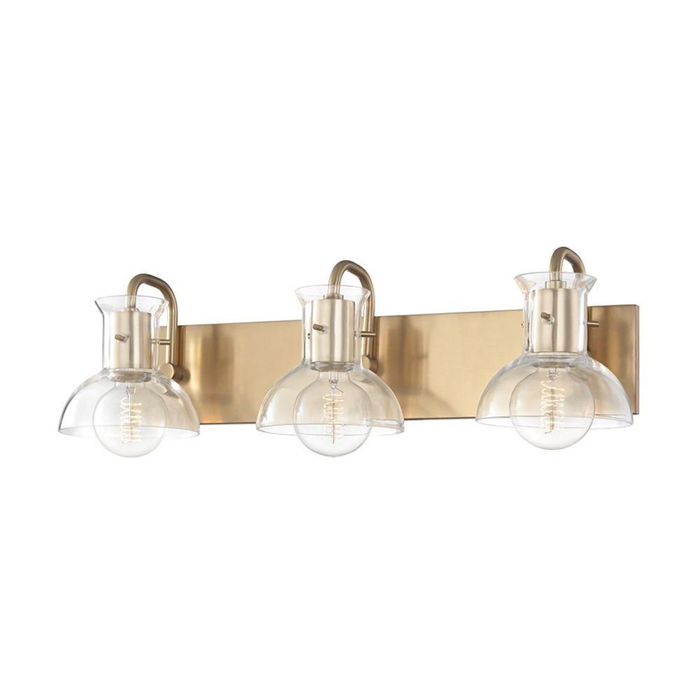 Mitzi by Hudson Valley Lighting Riley, Lampe de salle de bain à 3 feux avec fini en laiton vieilli et abat-jour en verre clair