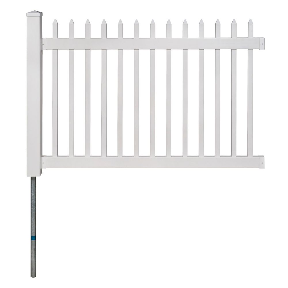 Zippity Outdoor Products Nantucket No-Dig Permanent 4 ft. x 6 ft. Vinyl Picket Fence Panel with Post and Anchor Kit