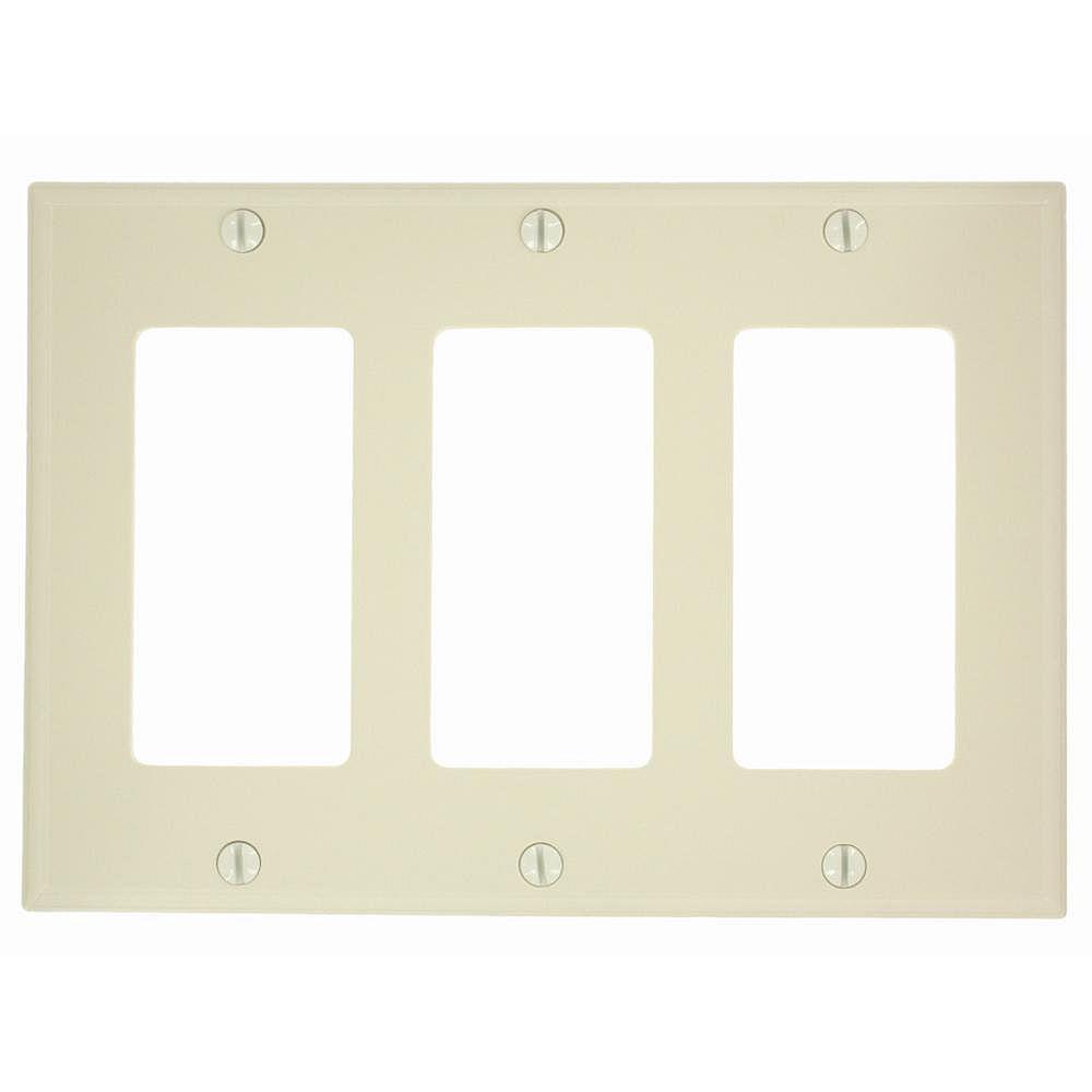 Leviton 3-Gang Decora/GFCI Device Decora Wallplate/Faceplate, Standard Size, Thermoplastic Nylon, Ivory