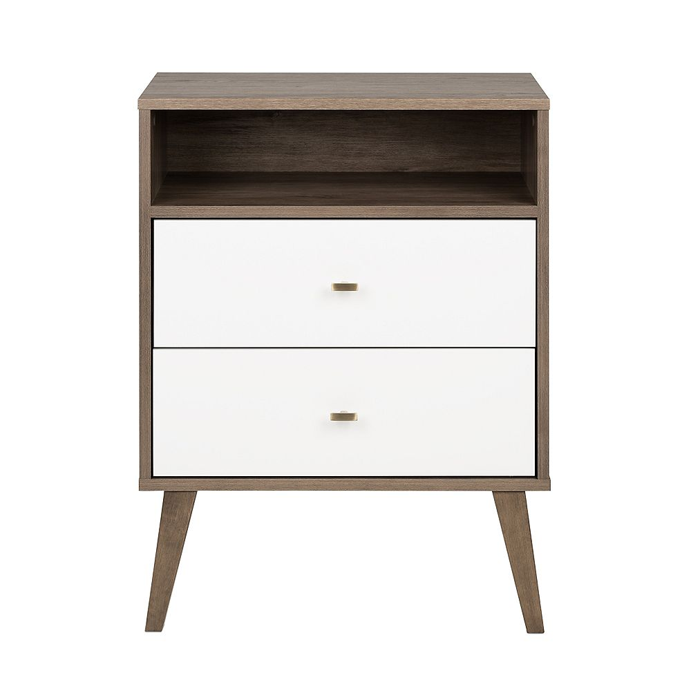 Prepac Milo Mid Century Modern 2-Drawer Tall Nightstand with Open Shelf - Drifted Gray and White