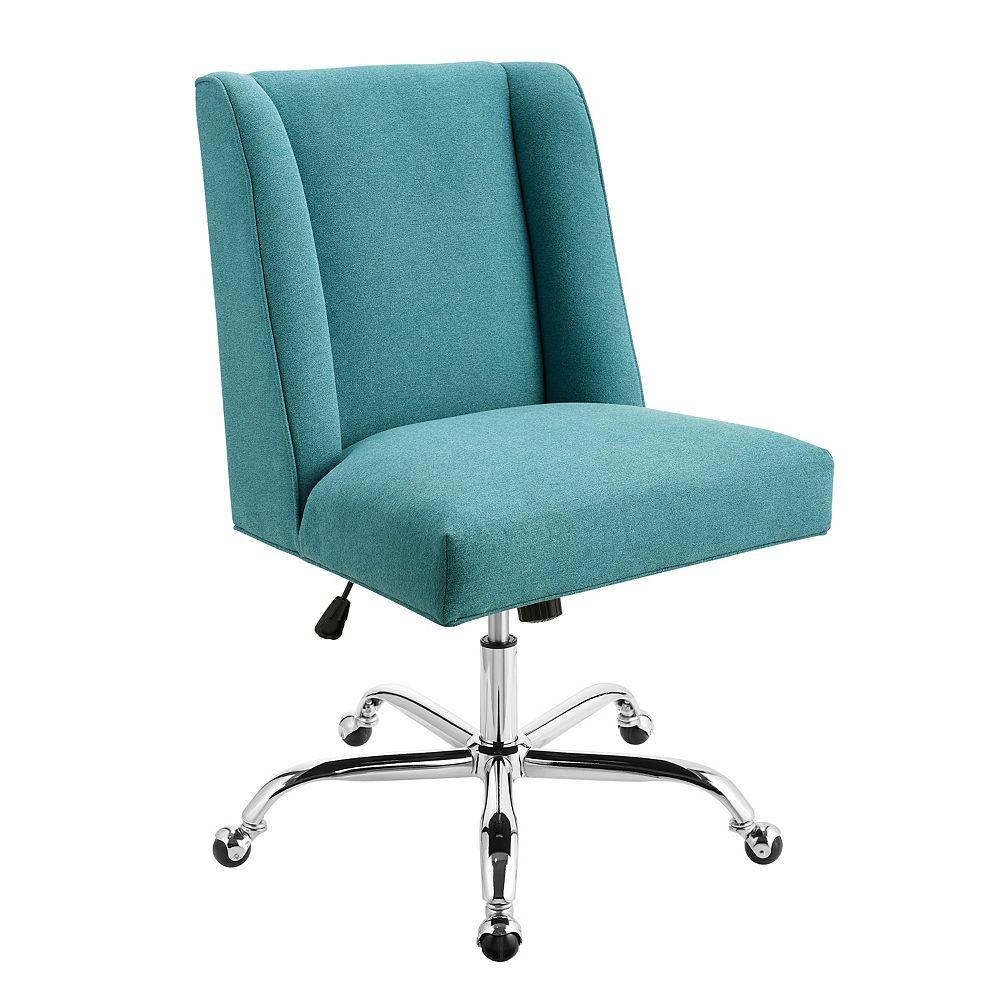 Linon Home Décor Products Memphis Chaise De Bureau Sirène Bleu-Chrome Base