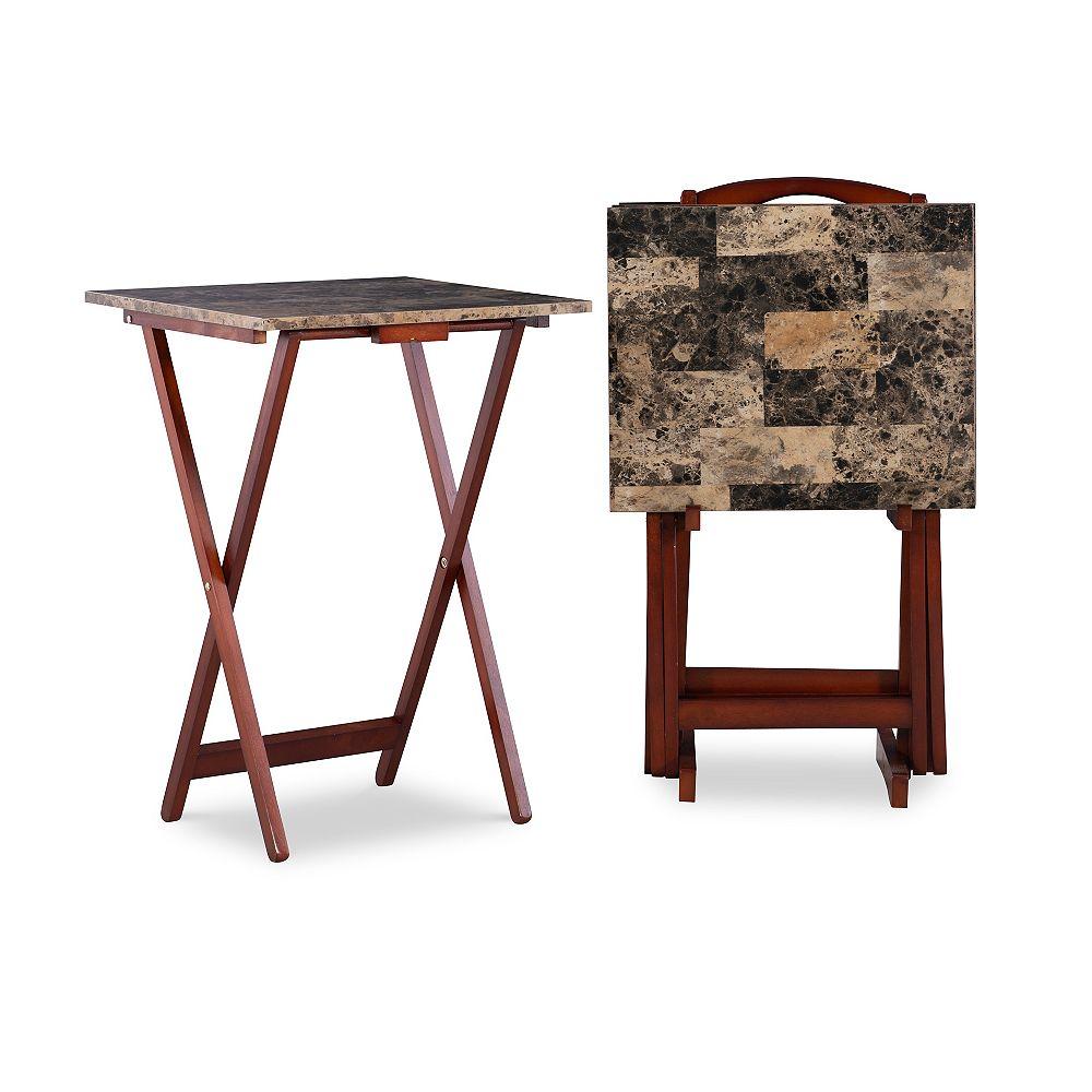 Linon Home Décor Products Adrian Faux Marbre Plateau Pliant Ensemble De Table