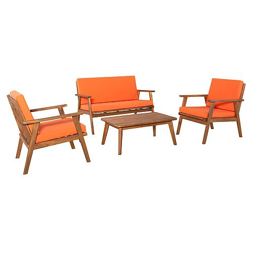 Linon Home Décor Products Reeves 4PC Outdoor Chat Set Orange