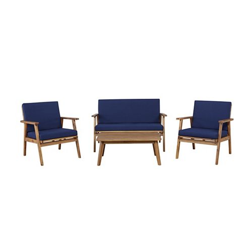Linon Home Décor Products Reeves 4PC Outdoor Chat Set Blue
