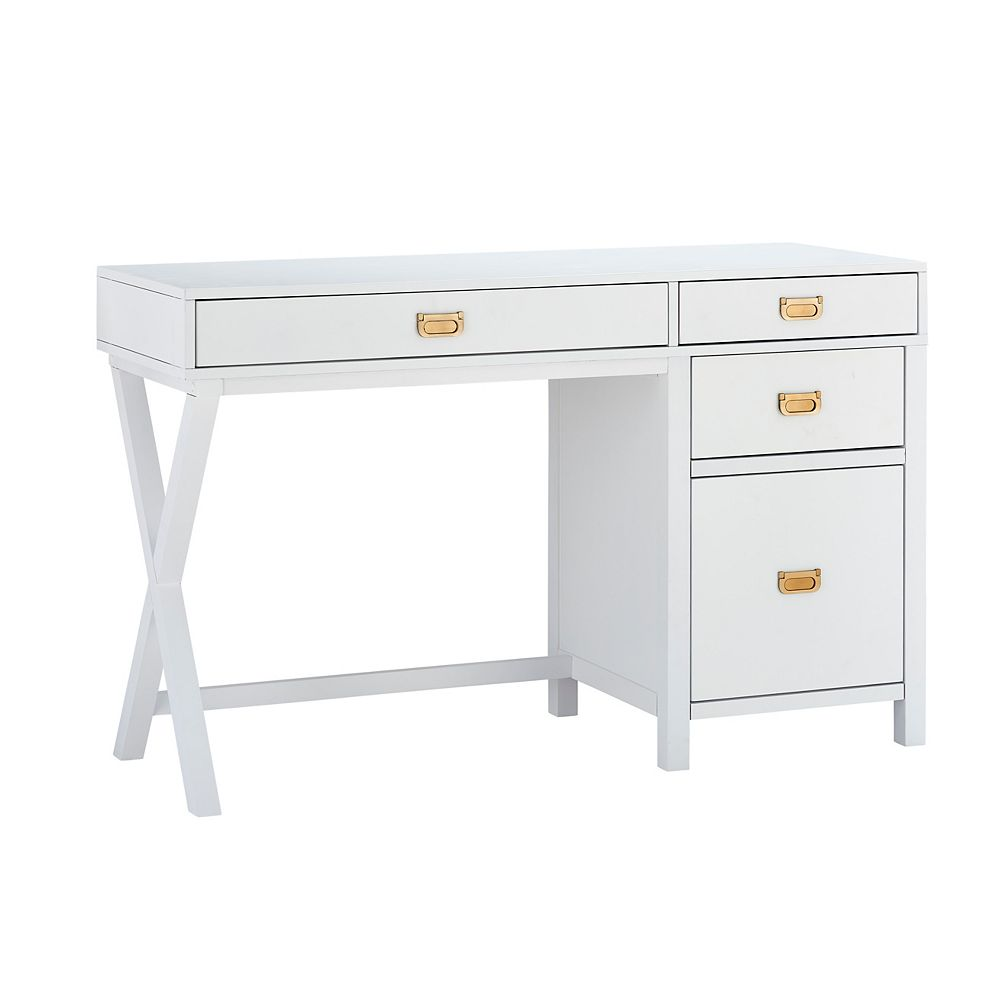Linon Home Décor Products Lilah White Side Storage Desk