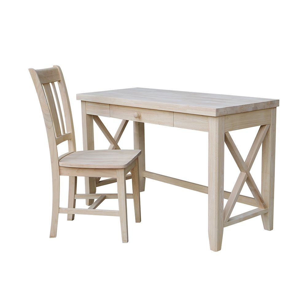 International Concepts 2-PC Unfinished Hampton desk with chair