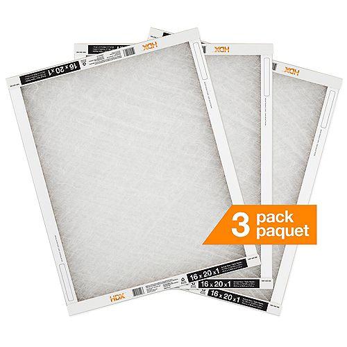 16X20X1 Fiberglass Air Filter 3 Pack