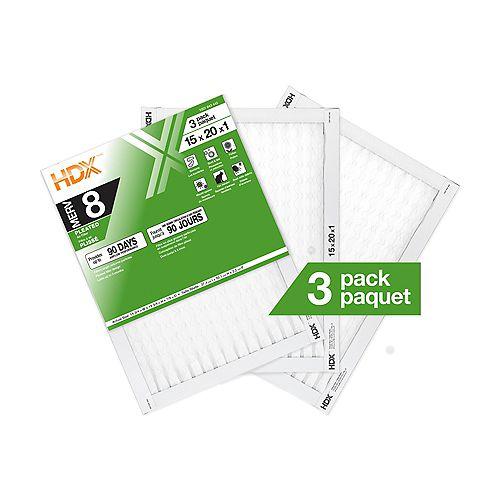 15X20X1 MERV 8 Pleated Filter 3 Pack