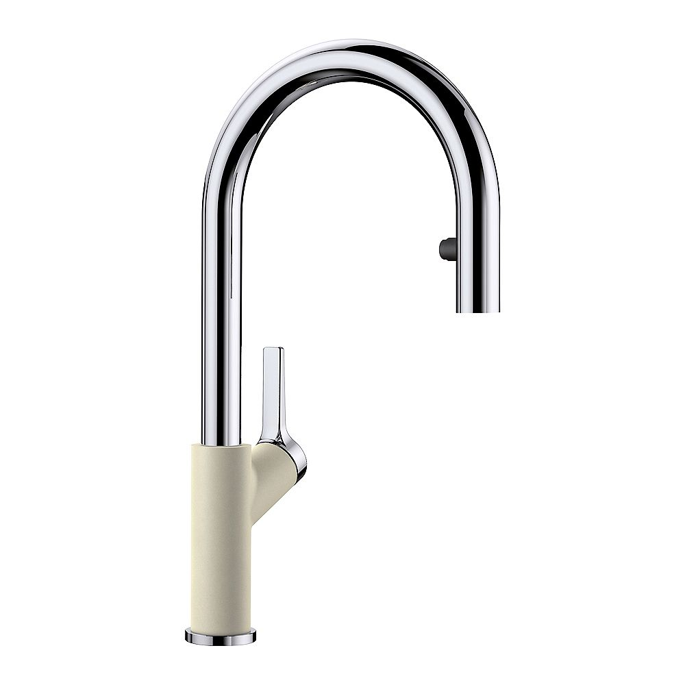 Blanco URBENA, Pull-Down Kitchen Faucet, 1.5 GPM Flow Rate (Dual-Spray) Chrome/Biscuit