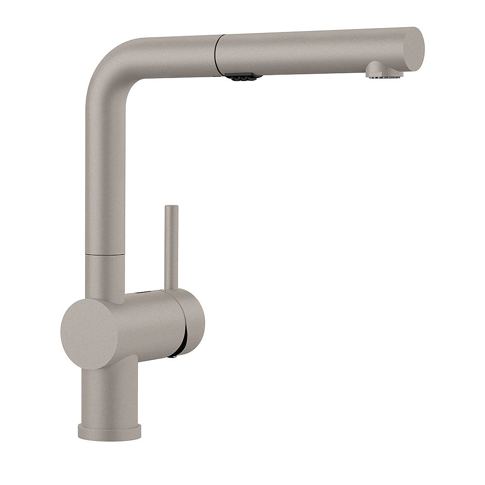 Blanco LINUS, Low-Arc Pull-out Kitchen Faucet, 1.5 GPM Flow Rate (Dual-Spray), Concrete Gray