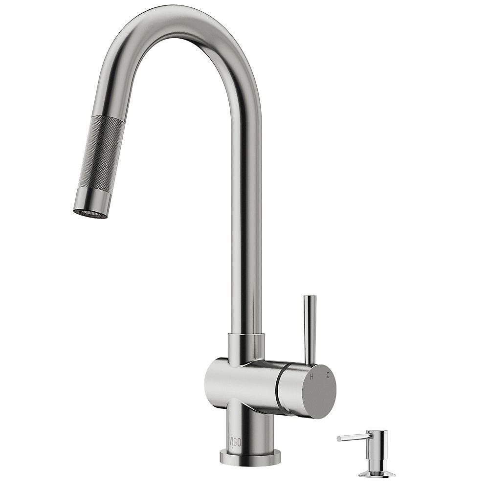 VIGO Gramercy Single-Handle Pull-Down Kitchen Faucet with Bolton Soap Dispenser in Stainless Steel