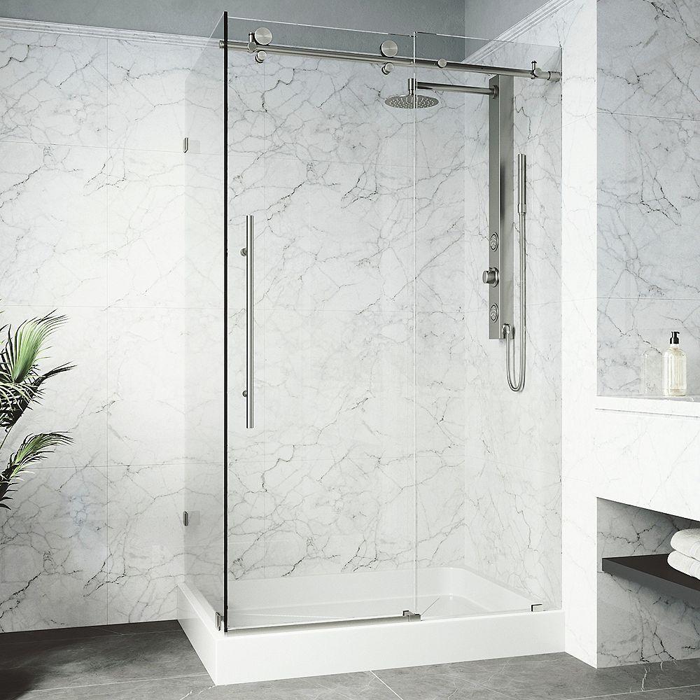 VIGO Cabine de douche sans cadre Elan E-Class de VIGO en acier inoxydable avec base et drain à gauche