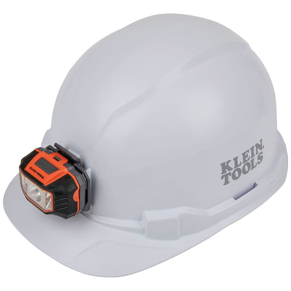 Klein Tools Hard Hat, Non-Vented, Cap Style with Headlamp, White