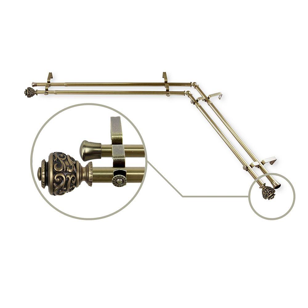 "Rod Desyne 13/16"" Dia Adjustable Corner Window Double  Rod 66-120"" in Antique Brass with Diana Finials"